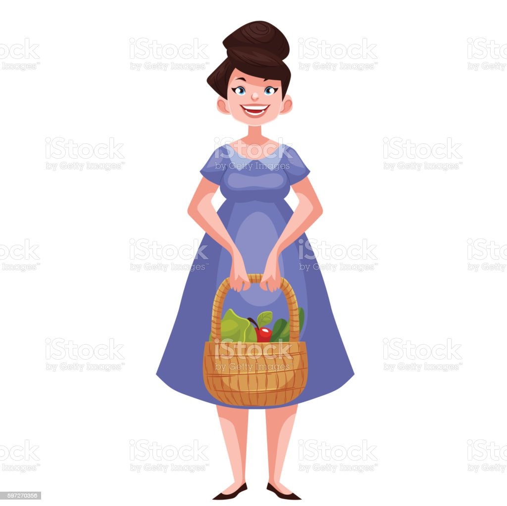 woman holding baskets of fruits and vegetable royalty-free woman holding baskets of fruits and vegetable stock vector art & more images of adult