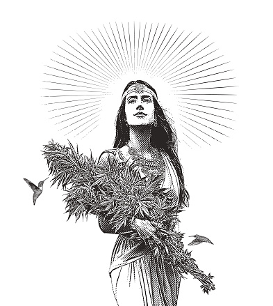 Woman holding bouquet of cannabis plants