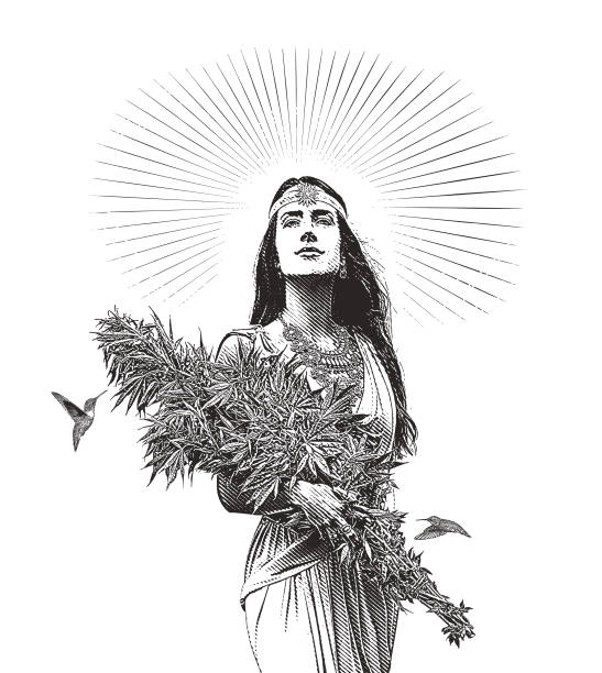 Woman holding bouquet of cannabis plants vector art illustration