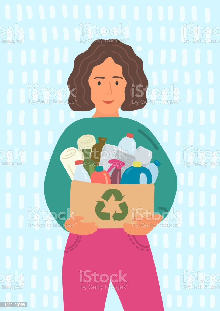 Woman holding cardboard box with recycling sign full of waste....