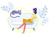 Woman Holding Cat on Knees Vector Illustration. Cartoon Girl Sitting on Sofa, Playing with Cute Fluffy Pets. Female Flat Character Relaxing at Home, Spending Time with Domestic Animals