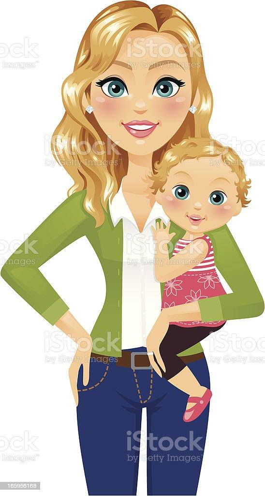 Woman holding Child vector art illustration
