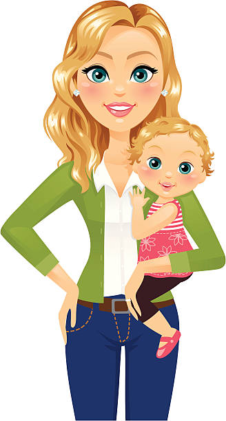 Woman holding Child A beautiful woman holding a baby daughter.  She could be a mom or a caretaker/nanny/babysitter. heyheydesigns stock illustrations