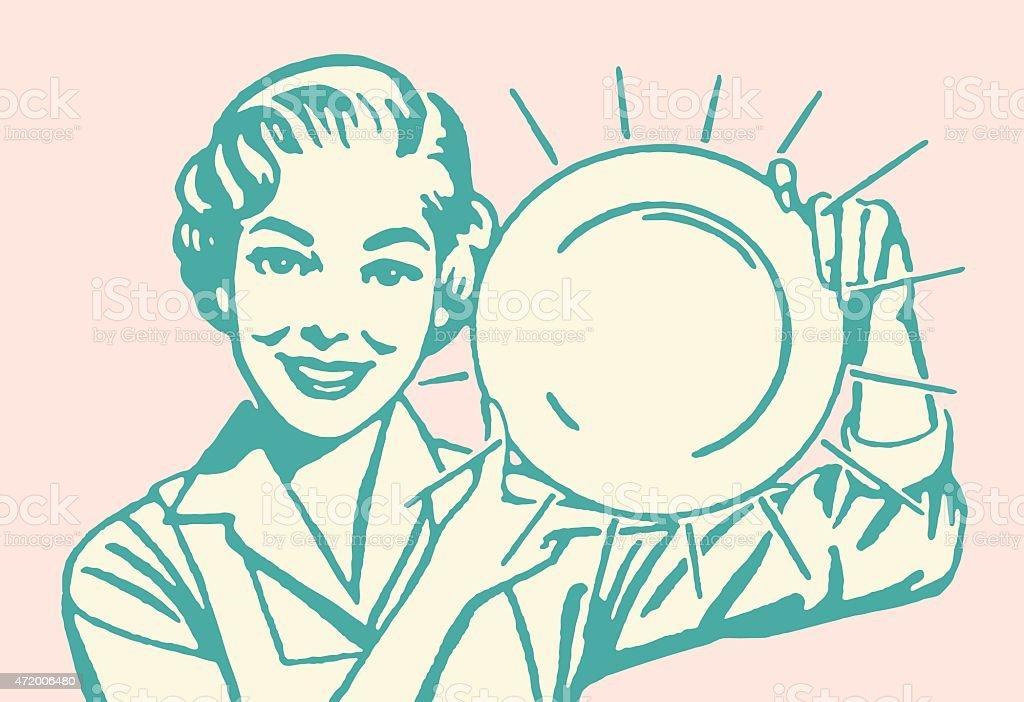 Frau hält sauber Gericht – Vektorgrafik