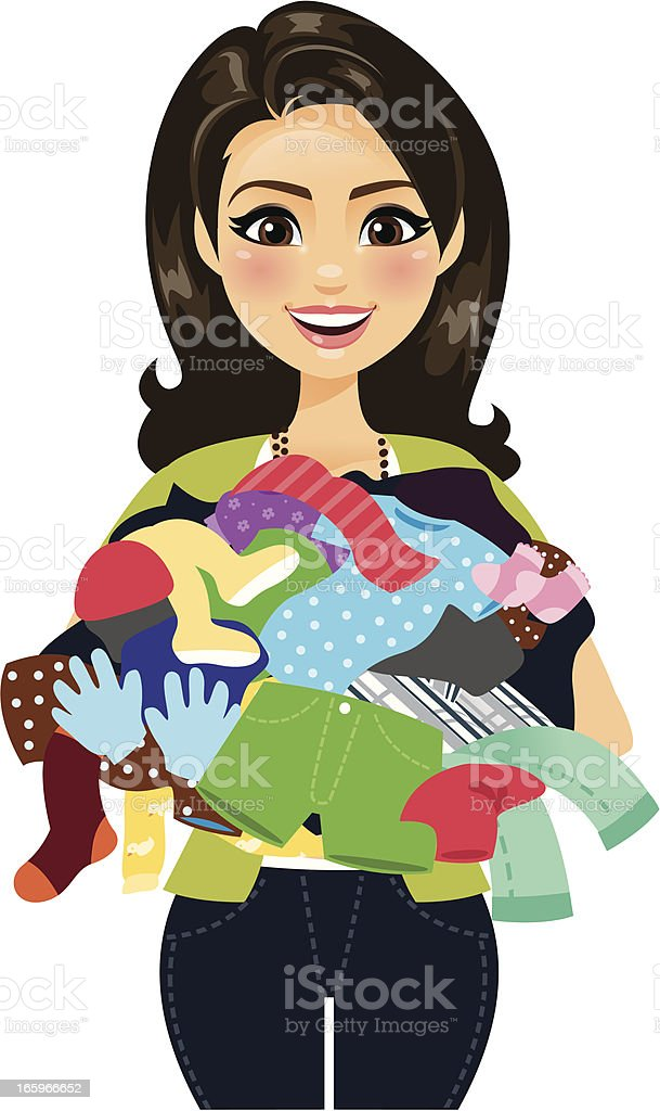 Woman Holding Clothes A woman holding a pile of clothing. She could be doing laundry or shopping or a retail clerk holding merchandise, among other things. Pile of clothing can be used separately.  Adult stock vector