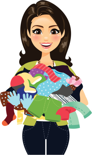 Woman Holding Clothes Stock Illustration - Download Image Now
