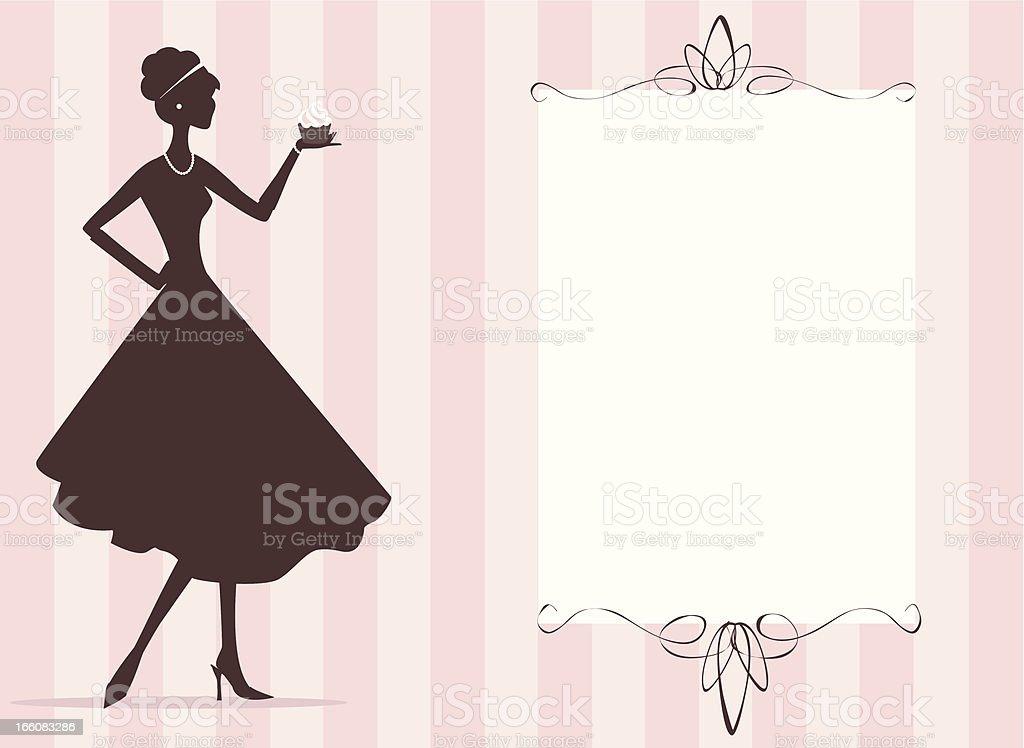 Woman holding cupcake royalty-free stock vector art