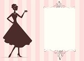A retro styled woman holding a cupcake. On layers for easy editing.