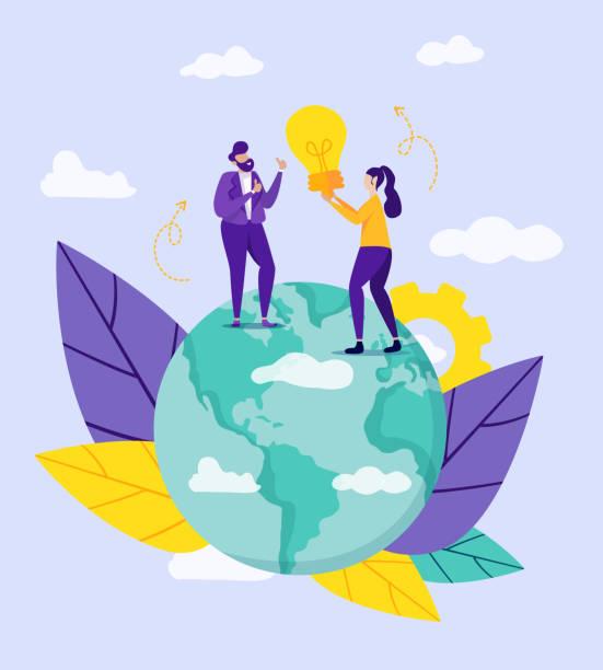 stockillustraties, clipart, cartoons en iconen met vrouw holding gloeilamp communiceren met de mens - new world