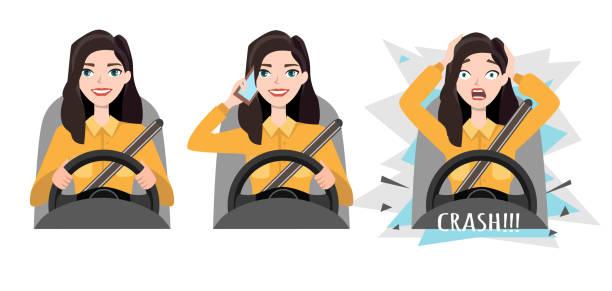 ilustrações, clipart, desenhos animados e ícones de mulher segurando o telefone celular enquanto estiver dirigindo o carro. acidente - carro mulher