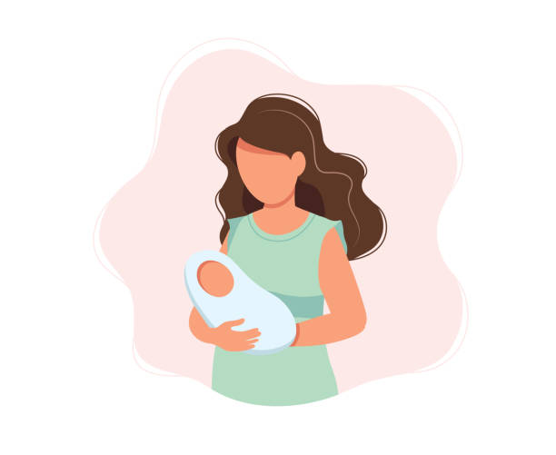 woman holding newborn baby, concept vector illustration in cute cartoon style, health, care, maternity - new born baby stock illustrations