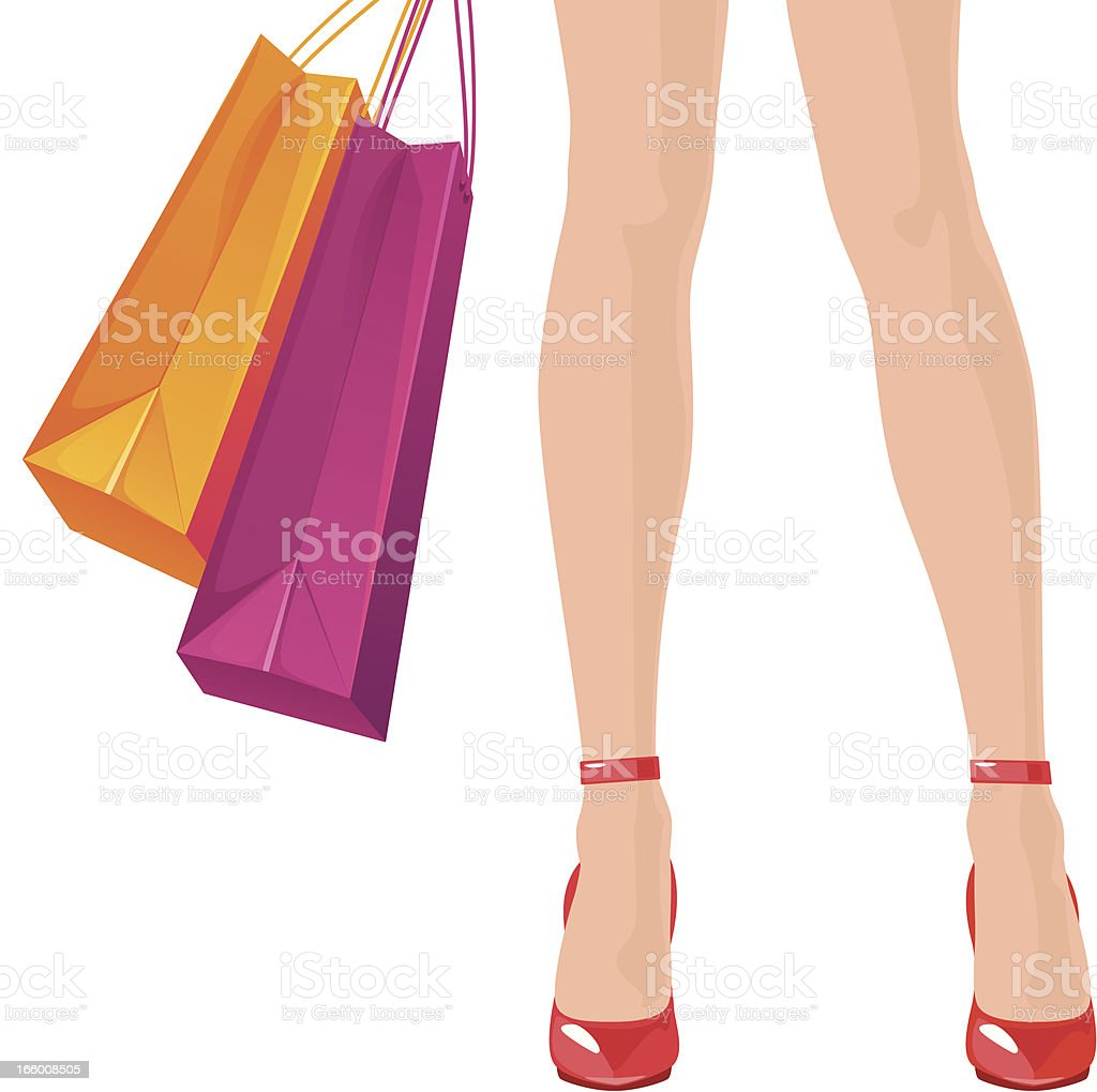 Woman holding shopping bags royalty-free stock vector art