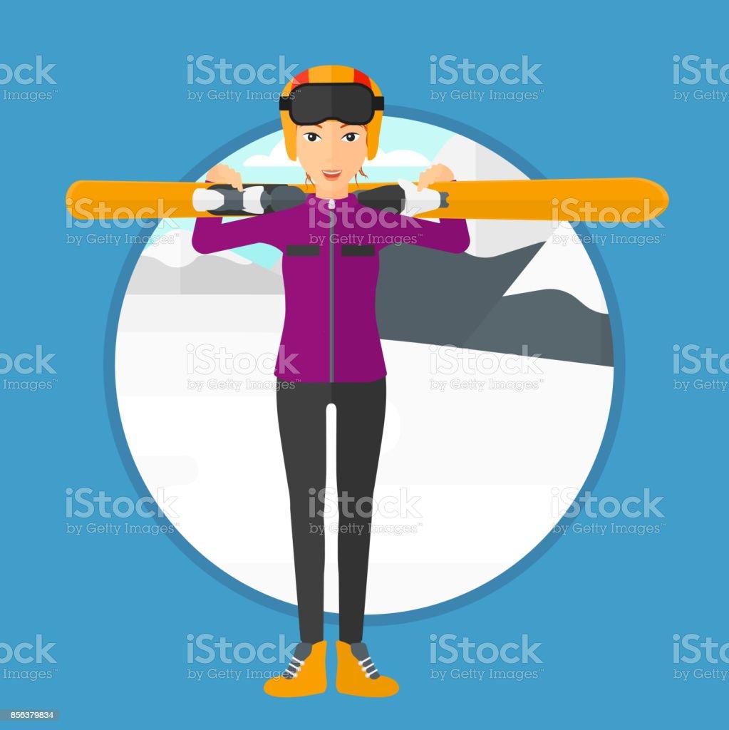 Woman holding skis vector art illustration