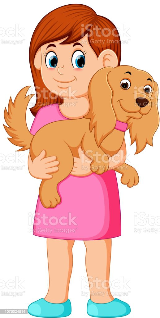 Woman Holding Small Dog Stock Vector Art & More Images of