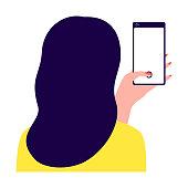 Woman holding smartphone, back view. Girl taking photo, selfie. Photo girl on phone. Phone, Internet User. Vector illustration