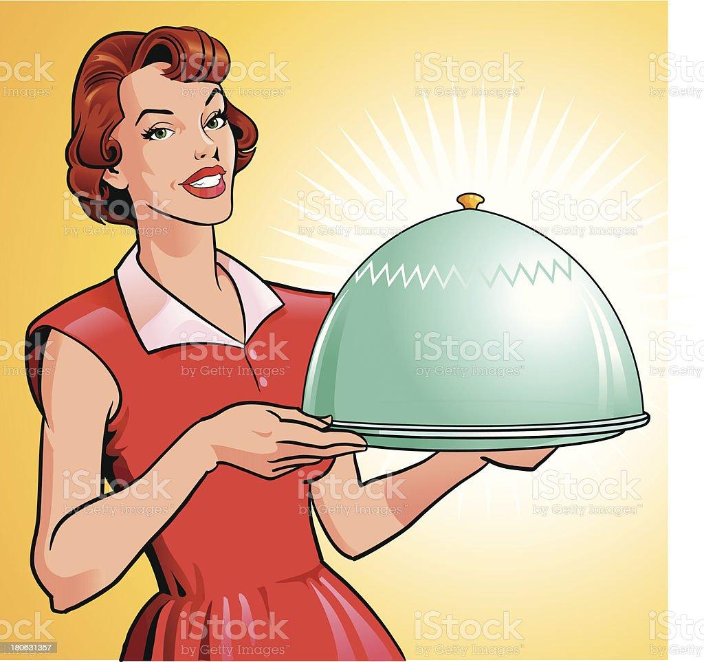 Donna con vassoio con pasto Gourmet - arte vettoriale royalty-free di Adulto