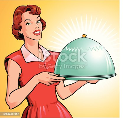 istock Woman Holding Tray With Gourmet Meal 180631357
