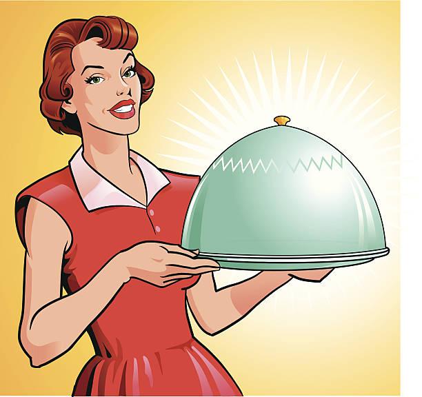 illustrazioni stock, clip art, cartoni animati e icone di tendenza di donna con vassoio con pasto gourmet - pranzo di natale