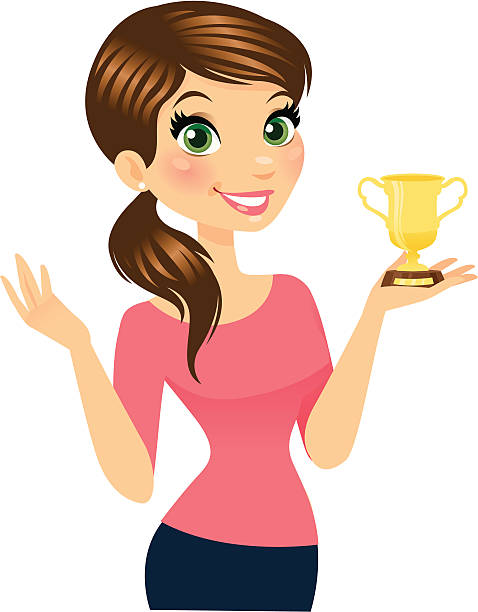 Woman Holding Trophy A Beautiful smiling woman holding a trophy. The trophy is easily removed in Ai for a simple gesturing hand, or can be made larger or smaller, and color changed. heyheydesigns stock illustrations