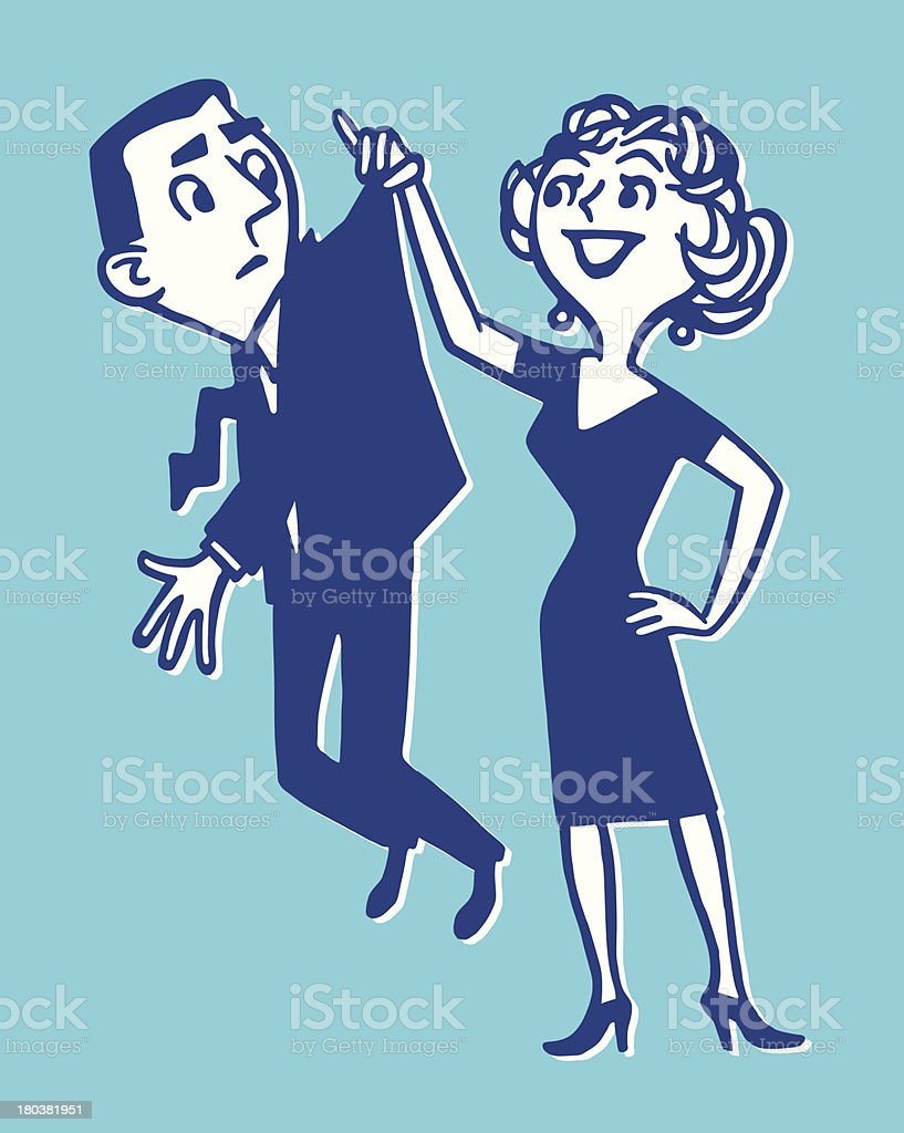 Woman Holding Up a Man By His Jacket royalty-free stock vector art