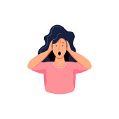 Woman holds her hands on her head and expresses emotions - fear, surprise, pain, stress. Flat cartoon style vector illustration on white background.