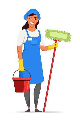 Woman housemaid in apron holding tools on white