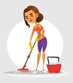 Woman housewife character holds mop and washes floor