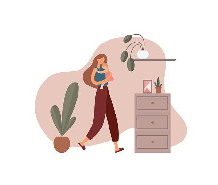 Woman hugging baby at home. Flat vector illustration