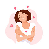 Woman hugging herself with hearts on white background. Love yourself. Love your body concept. Vector illustration.
