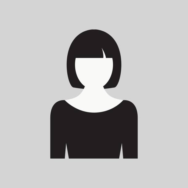 frau-symbol. weibliche web zeichen, flache kunstobjekt. schwarz / weiß silhouette des mädchens. avatar bild ca. vektor-illustration - chefin stock-grafiken, -clipart, -cartoons und -symbole