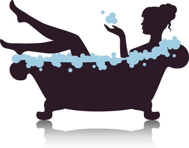 woman in a bath with foam vector art illustration