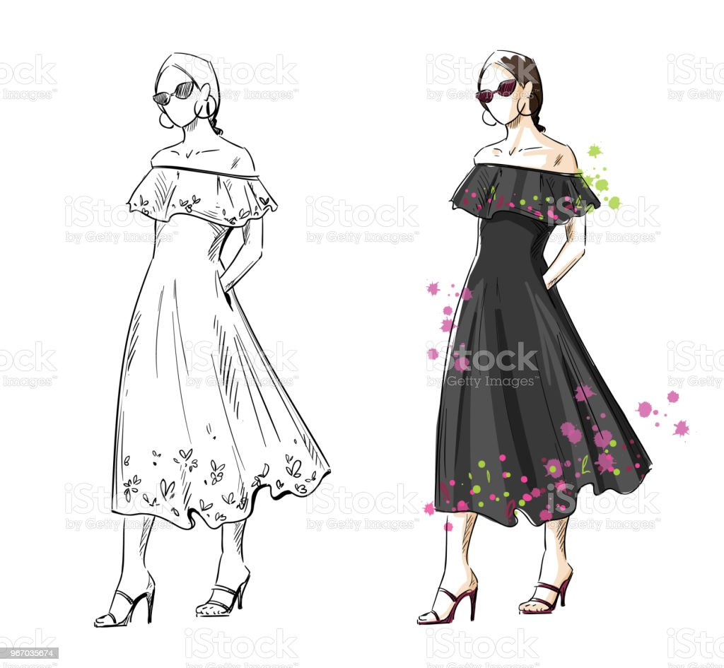 ファッション イラストベクトルブラック夏ドレスを着た女性 1人の