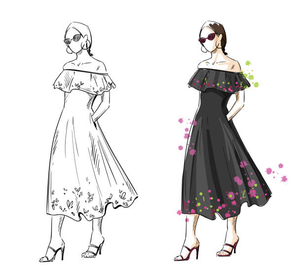 woman in a black summer dress, vector fashion illustration - summer fashion stock illustrations, clip art, cartoons, & icons
