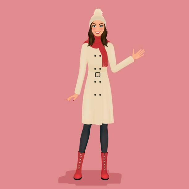 ilustraciones, imágenes clip art, dibujos animados e iconos de stock de mujer en una capa, sombrero de pom pom, bufanda roja y botas. moda de otoño o invierno. ilustración de vector. - moda de otoño