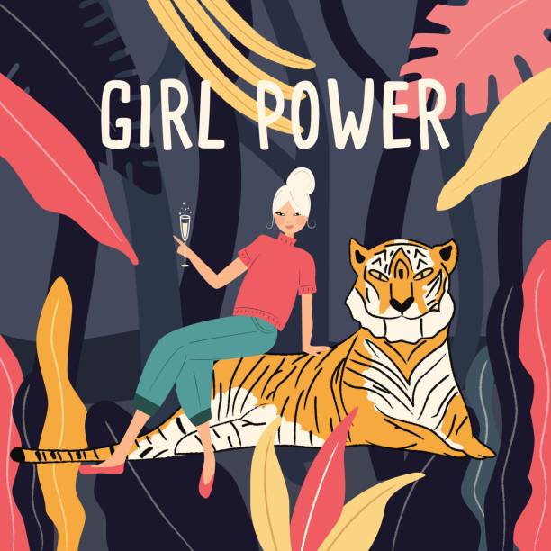 A woman in a jungle sitting on a tiger drinking champagne. Girl power feminism concept. Flat vector illustration vector art illustration