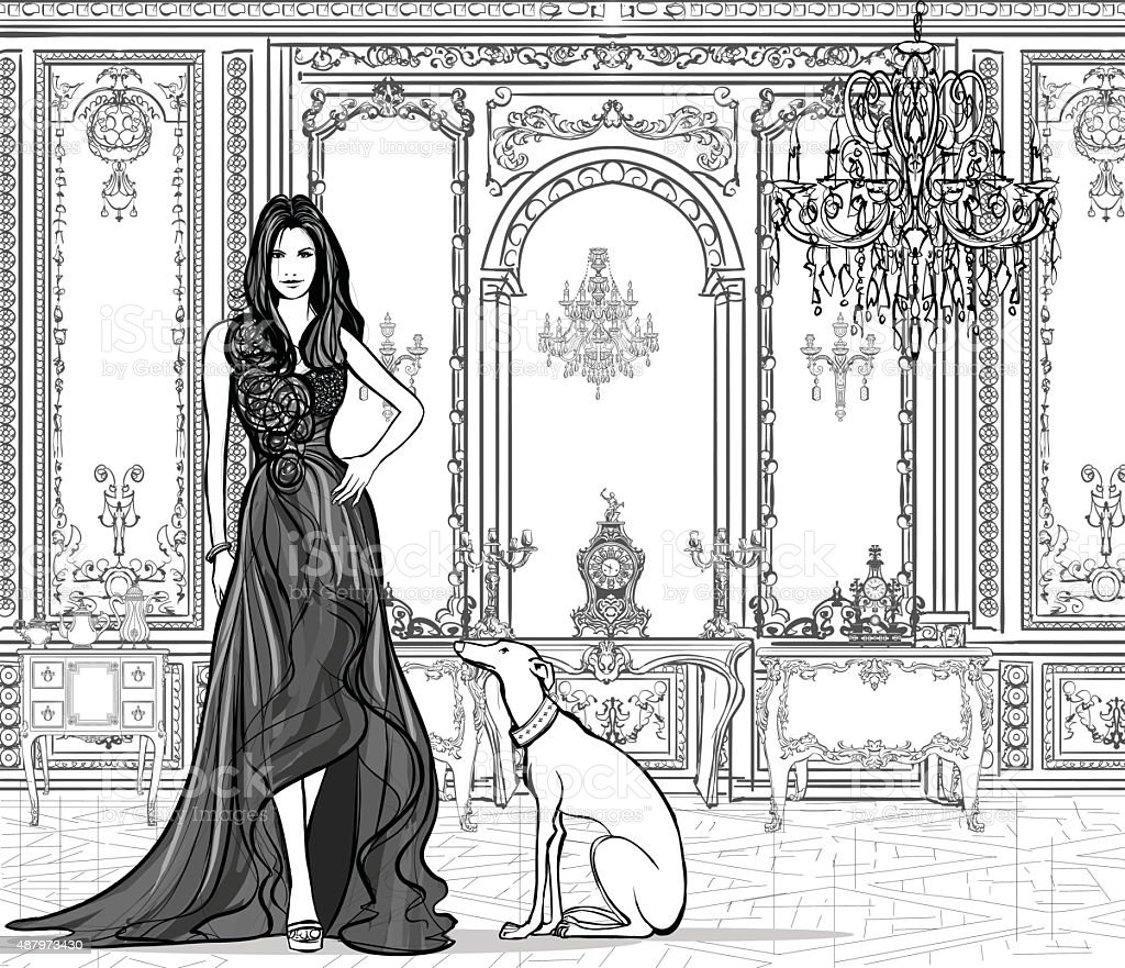 Woman in a palace with a greyhound vector art illustration