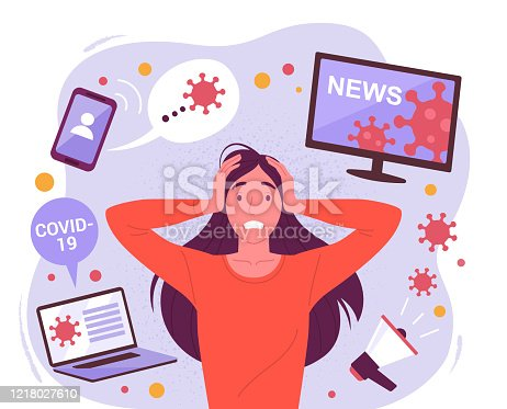 Vector illustration of a young attractive stressful woman surrounded by social media devices with virus information. Isolated on background