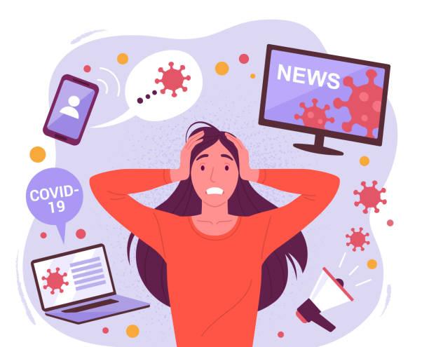 ilustraciones, imágenes clip art, dibujos animados e iconos de stock de mujer en pánico por un coronavirus. - estrés