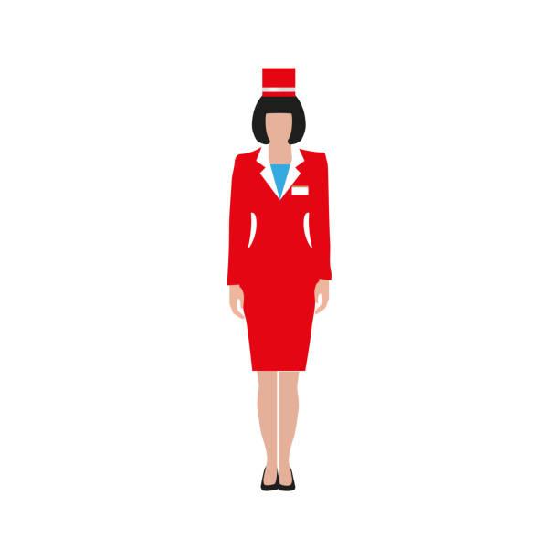 stockillustraties, clipart, cartoons en iconen met vrouw in een rood pak - stewardess
