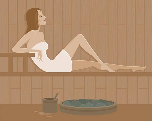 stockillustraties, clipart, cartoons en iconen met woman in a sauna - sauna
