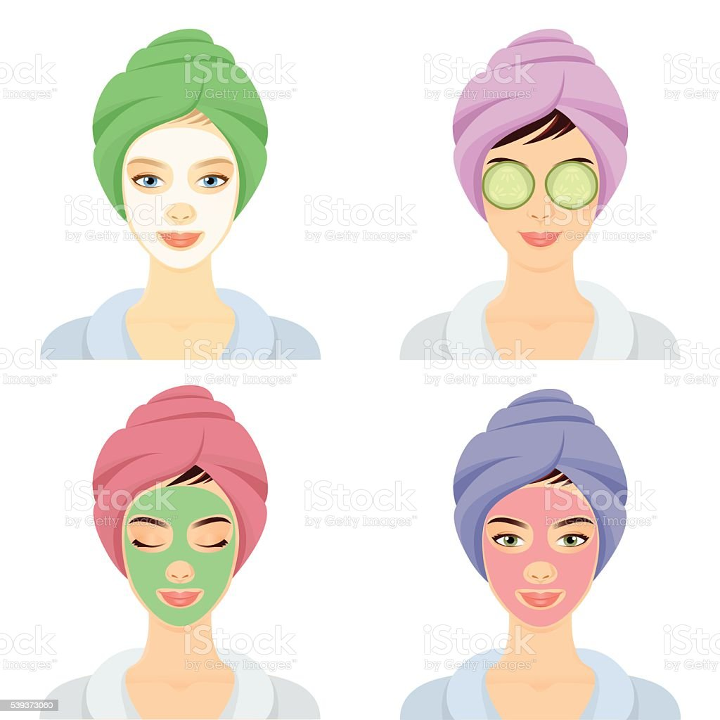 Woman in a Spa set vector art illustration