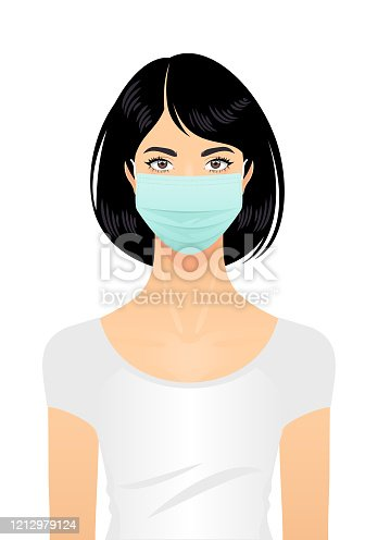 istock Woman in a surgical mask 1212979124
