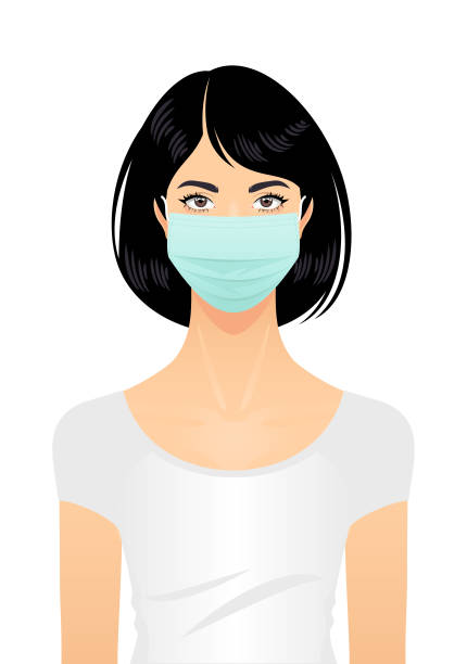 Woman in a surgical mask Woman wearing a surgical mask isolated on a white background. asian woman stock illustrations