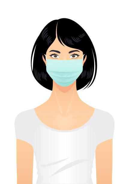 ilustraciones, imágenes clip art, dibujos animados e iconos de stock de mujer con máscara quirúrgica - asian woman