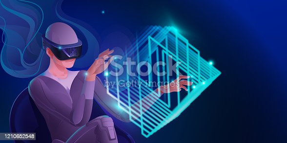 istock A woman in a virtual reality helmet plays, passing a virtual maze in a cube. Vector image of modern technologies for communication, games, creativity. Banner in blue tones. 1210652548