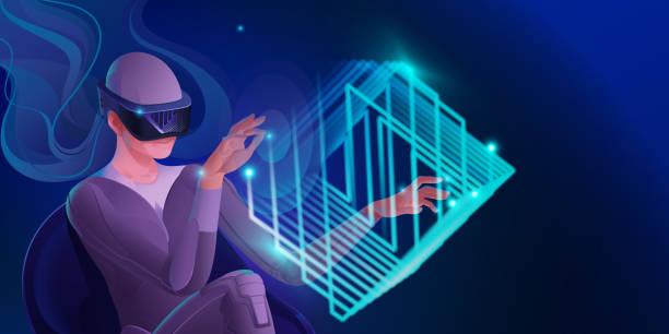 Eine Frau in einem Virtual-Reality-Helm spielt, vorbei an einem virtuellen Labyrinth in einem Würfel. Vektorbild moderner Technologien für Kommunikation, Spiele, Kreativität. Banner in Blautönen. – Vektorgrafik
