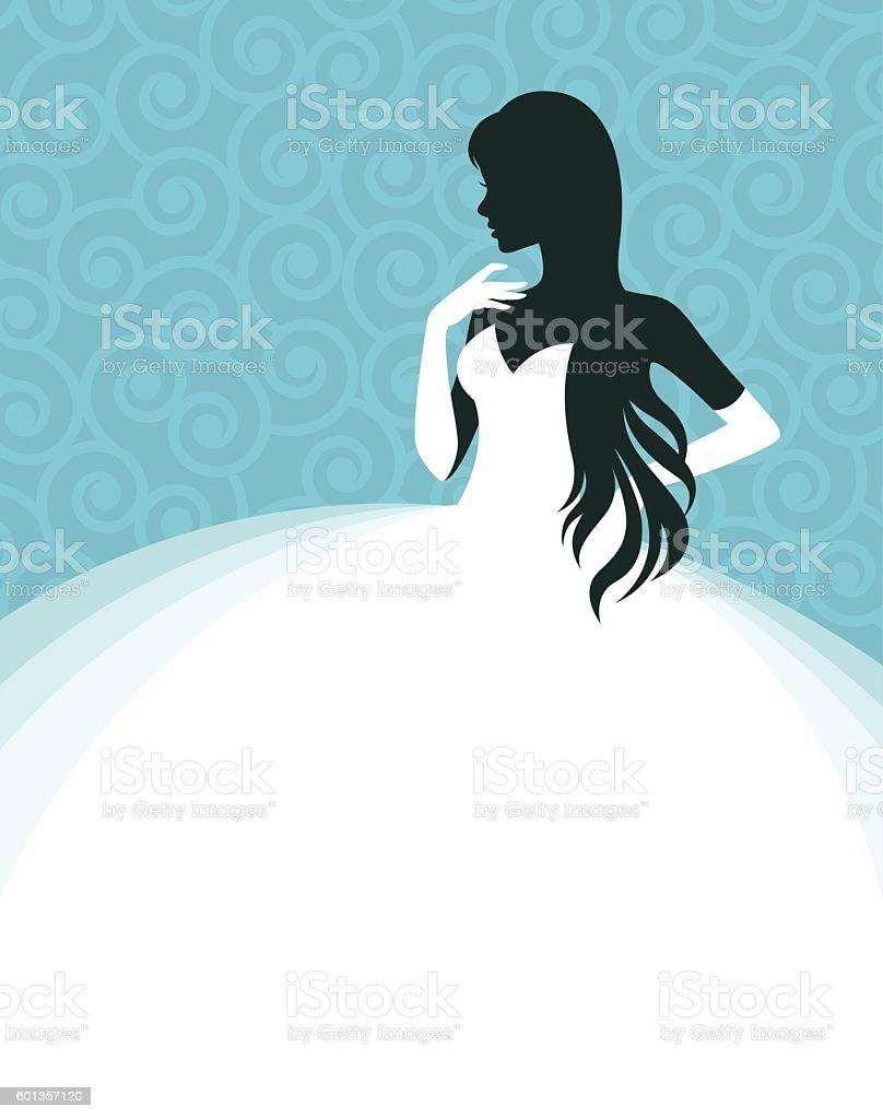 Woman in a wedding dress vector art illustration