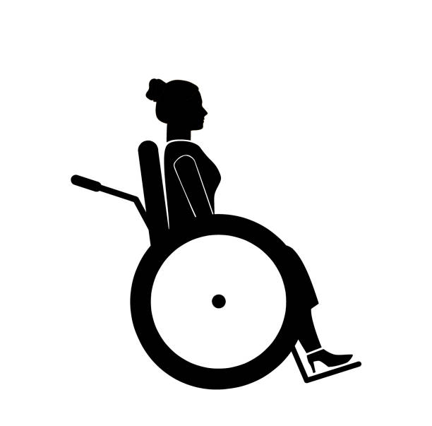 woman in a wheelchair. silhouette icon. vector illustration. - old man sitting chair clip art stock illustrations, clip art, cartoons, & icons