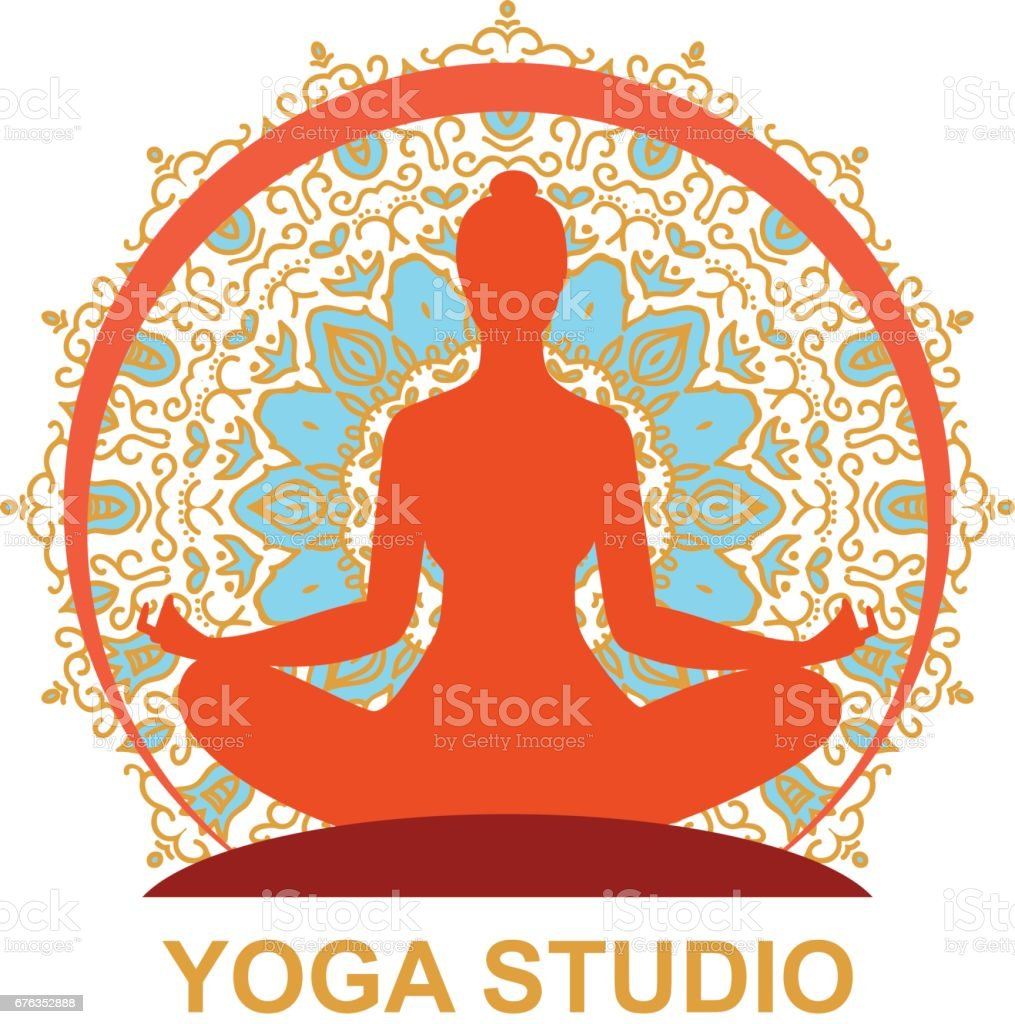 woman in a yoga pose vector art illustration