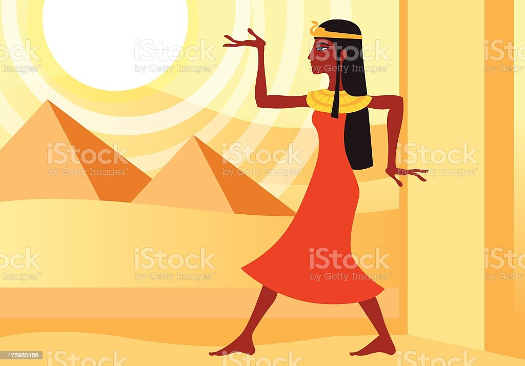 woman in ancient Egyptian dress vector art illustration